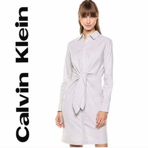 NWOT Calvin Klein striped tie front shirt dress 14